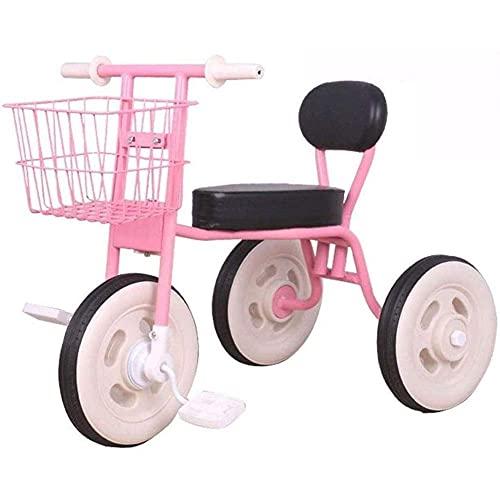 GST Triciclos Triciclo para niños portátiles, Bicicleta de Pedal de niños Simples Plegables con Cesta de Almacenamiento, para niños de 1 a 7 años de Edad Productos para bebés, Amarillo (Color : Pink)