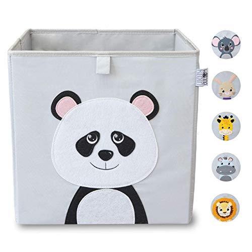 wonneklein Aufbewahrungsbox Kinder I Spielzeugkiste Kinderzimmer I Spielzeug Box (33x33x33 cm) zur Aufbewahrung I Ordnungsbox I Kallax Box I grau mit Tier Motiv als Deko (Paula Panda)