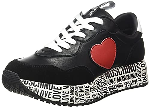 Love Moschino Damen, Scarpe da Donna, Pre Collezione Autunno Inverno 2021 Sneaker, Schwarz, 40 EU