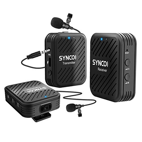 SYNCO G1(A2) 2.4GHz-Wireless-Lavalier-Microphone-System with 1 Receiver,2 Transmitters &2 External Lav-Mic Compatible with Smartphone, Laptop, DSLR, Tablet, Camcorder, Recorder