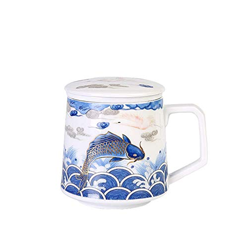 DOUP Tea Sets with Teapot,Ceramic Teacup with Filter and Lid,Chinese-Style Mug with Infuser Best Gift for Friend Family (White-Blue 350Ml)