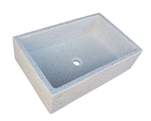 Terrazos Cantalejo - Pilón Fregadero o Pila de Piedra Artificial Similar al Granito o mármol de 70x46x21 cm. (Blanco)