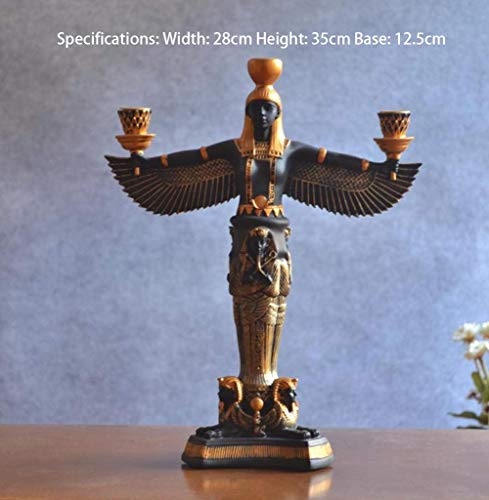 LIUSHI Decoración de Estatua de Figura egipcia, decoración Creativa de Bar en casa, cafetería, Resina egipcia Antigua, Adorno de artesanía Retro, candelabro, Negro