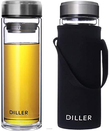 Trinkflasche glas 1000ML wasserflasche 1L Litre flasche trinkflaschen glas borosilikatglas De461 (800ml, A)
