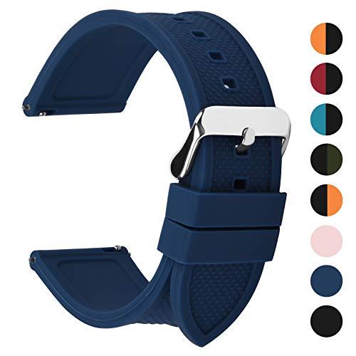Fullmosa Silikon Uhrenarmband 20mm mit Schnellverschluss in 8 Farben, Regenbogen Weich Silikon Uhrenarmband mit Edelstahlschnalle,20mm Dunkelblau