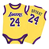 Baby Jersey - Warrior Lakers James Romper Mono sin Mangas Chaleco 0-15 Meses,Yellow,66CM