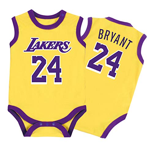 Baby Jersey - Warrior Lakers James Romper Mono sin Mangas Chaleco 0-15 Meses,Yellow,59CM