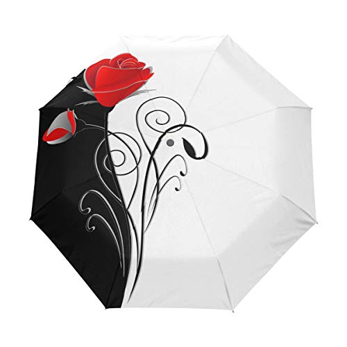 QMIN Auto Folding Umbrella Beauty Black White Red Rose Flower Windproof Anti-UV Protection Travel Compact Rain Umbrella for Women Ladies Men Girls