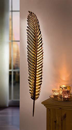 Wandhänger Feder aus Metall, Gold, 99 cm hoch, Wanddeko, Wandschmuck, Dekohänger