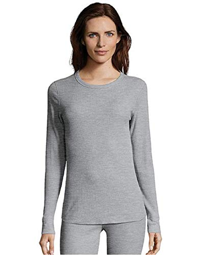 Hanes Women's Long Sleeve Thermal Waffle Knit Crew with FreshIQ and X-Temp Technology Heather Grey