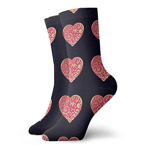 Kevin-Shop Golden Red Love Heart Adulto Calcetines Cortos Calcetines Lindos para Hombres Mujeres Yoga Senderismo Ciclismo Correr Fútbol Deportes