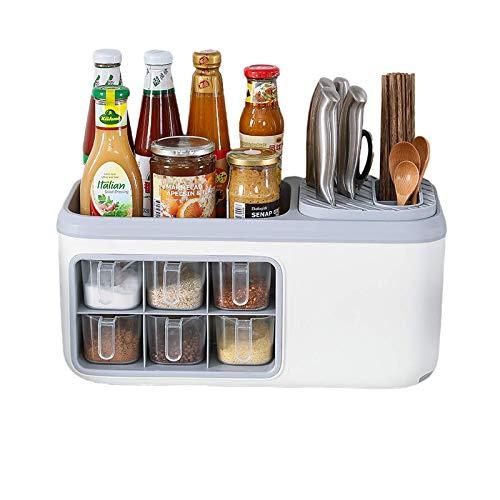 EstanteríaCocina Estante Spice Rack Especiero de Pie Libre Encimera Organizador Multiuso para Especias y Hierbas, Condimentos Vajilla y Utensilios de Cocina, Con Desagüe