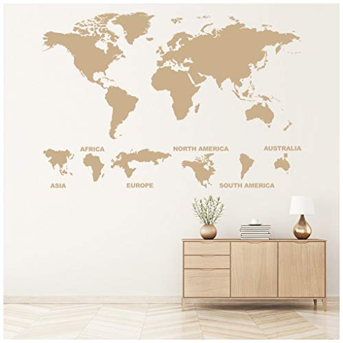 Continent world map wall sticker map wall decal art available in 5 continent world map wall sticker map wall decal art available in 5 sizes and 25 colours gumiabroncs Image collections