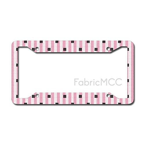 Dom576son License Plate Frame Geometric Pink And Vertical Candy Striped Backdrop And Square Stencils, Baby Pink Metal Tag Border US Size 12 x 6 Inches Auto License Plate Holder