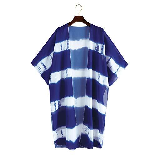 YTZL Vestido de verano para mujer, estilo bohemio, para la playa, para verano, cárdigan de gasa, cárdigan de verano, blusa para la playa, cubierta de bikini, ligera, estilo bohemio azul M