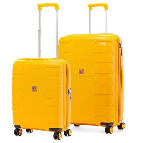 Roncato Spirit - Juego de 2 maletas rígidas con 4 ruedas, color amarillo ampliable con cierre TSA ultraligero