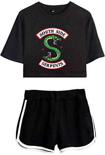 OLIPHEE Chándales con Logo Batalla de Riverdale Camisa y Pantalones Cortos de Verano para Mujer DIYhehe-S-2