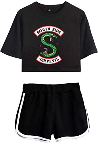 OLIPHEE Damen Kurzarm T-Shirts + Kurze Hose Sets Sport Streetwear Bekleidungsets mit Riverdale Southside Serpents Druck Schwarz Schwarz XL