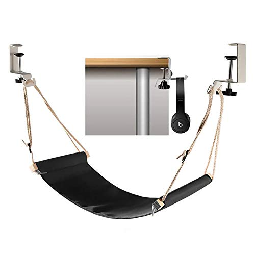 Abree Foot Hammock Ergonomic Foot Rest Portable Adjustable Desk Hammock Stand for Home Office with Headphones Holder (Black)