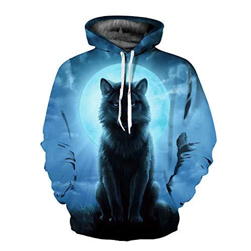 F-FH Unisex Pullover, Pullover 3D Grafik, Langarm Kordelzug Taschen Sweatshirt,F-L