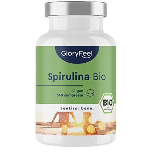 Spirulina Bio 3000mg + 780 mg Ficocianina, 540 Compresse, Spirulina Biologica Naturale, contiene naturalmente Proteine, Vitamine & Minerali, Alga Spirulina Blu, 500mg per Compressa, Certificata Bio