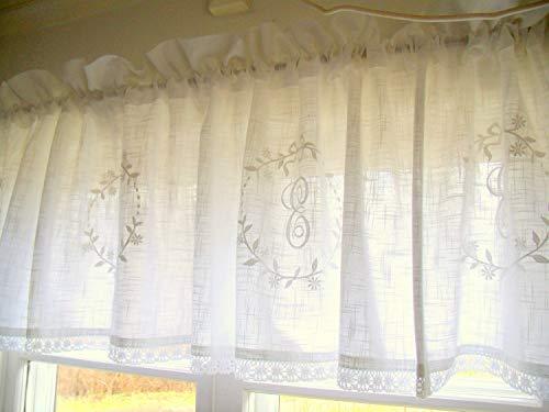 LillaBelle WEIß Crystal 250 x 45 cm Scheiben Kurz Bistro Küchen Gardine Querbehang Landhaus Vintage