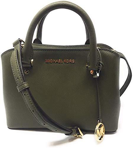 Michael Kors Savannah Small Saffiano Leather Satchel Crossbody Bag Duffle Green