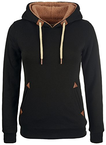 DESIRES Vicky Pile Damen Winter Pullover Kapuzenpullover Hoodie Sweatshirt mit Kapuze und Teddy-Futter, Größe:M, Farbe:Black (9000)