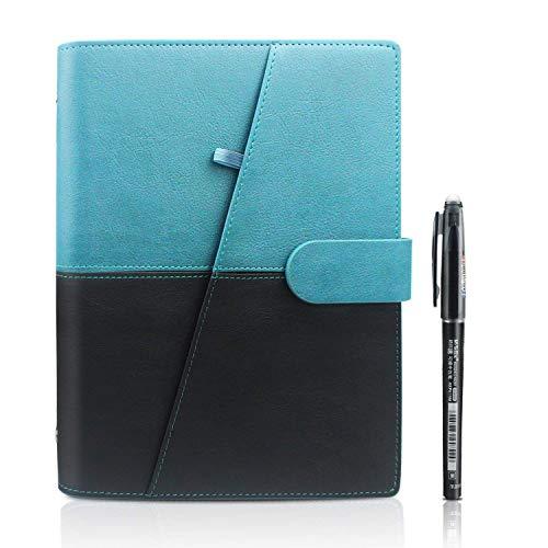 HOMESTEC Smart Notebook - Taccuini Riutilizzabile Cancellabile Block Notes Nube Conservazione Quaderni Spirale per la Scuola Forniture Casa Memo di Scrittura Penna Inclusa(A5-PU-Blu)