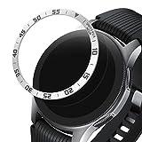 kwmobile Anillo Protector Adhesivo Compatible con Samsung Galaxy Watch (46mm) / Galaxy Gear S3 Frontier & Classic - Bisel para smartwatch en Plata/Negro