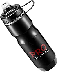 Pro Bike tool insulated bike water bottle, black color.