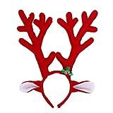 Yodensity Reno Cordillera con campana para fiesta de Navidad Fiesta de cumpleaños suave Ligero peluche en rojo / marrón (Rojo)