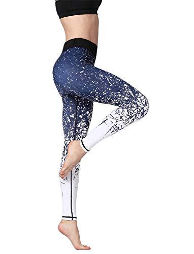 Adorel Leggings Yoga Deportivos Medias Mujer Azul-Blanco