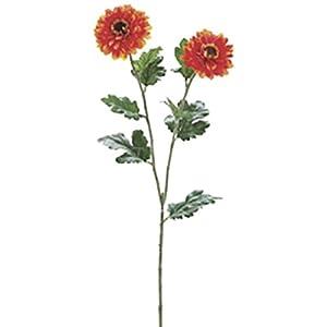 31″ Zinnia Silk Flower Stem -Orange (Pack of 12)