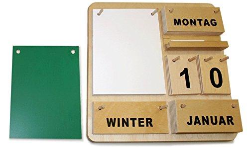 Dauerkalender Creativ D aus Holz 35 x 35 cm mit Block, Tafel, Holzablage und Kreide (deutsche Ausführung)