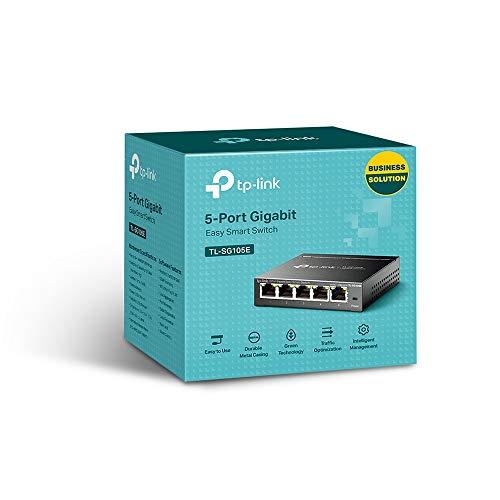 TP-Link TL-SG105E 5-Ports Gigabit Easy Smart Managed Netzwerk Switch(5 Gigabit-RJ45-Ports, Metallgehäuse, optimiert Datenverkehr, IGMP-Snooping, zentrales Management, energieeffizient)schwarz metallic