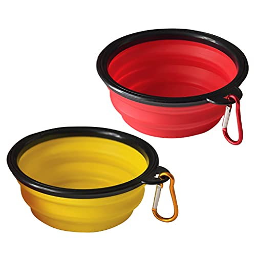 ARTISTRY Pack of 2 Collapsible Dog Bowl |Portable Travel Dog Bowl for Small Pet Dog Cat |Silicone Collapsable Dogs Drinking Bowl for Food Water Feeding with Metal Hook |Foldable Dog Bowl(Red & Yellow)
