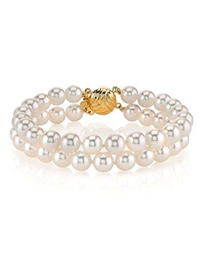 14 K Akoya japonés de oro blanco con perla cultivada - pulsera de doble calidad AA+
