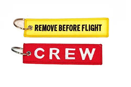 Pack porte-clés avec texte Remove Before Flight + Crew