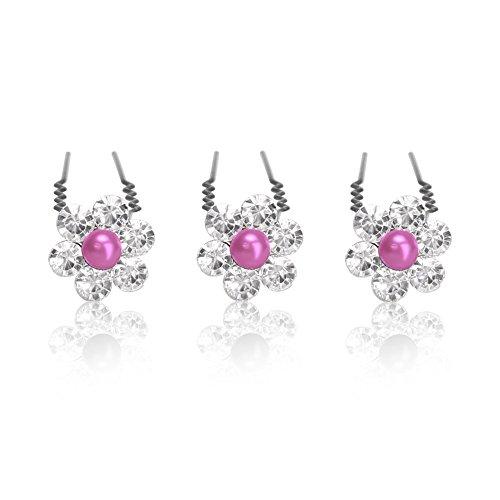 Autiga Haarnadeln Set mit Perlen Strass Blume Kristalle Hochzeit Braut Haarschmuck Kommunion Duttnadeln Haarpins Blütenhaarschmuck silbe pink 6er Set
