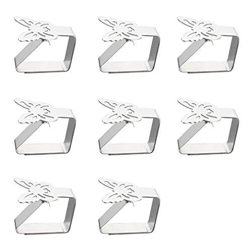 8 Stück Tischdeckenklammer Edelstahl Tischtuchklammern Schmetterling-Motive Tischdeckenhalterung für Drinnen und Draußen Garten Tischdeckenclips für Tischplatten bis zu 3 cm Stärke