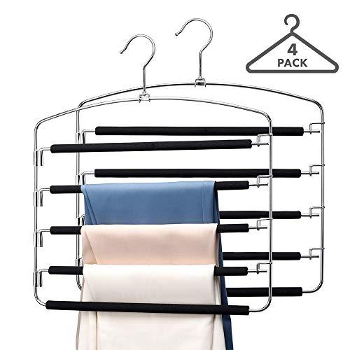 Magic 5-Tiers Multi Pants Hangers Smart Closet Saver Pack of 4 – Heavy-Duty Chrome Steel 360° Swivel Hook Space Saving Multiple Trouser Slack Pant Hanger for Wardrobe Organization