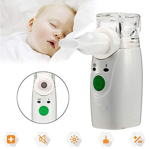 MZBZYU Nebulizador Inhalador Portatil Vaporizador de Vapor de Bajo Ruido USB Recargable con Boquilla y 2 Máscaras para Adultos y Niños para Asma Bronquitis Enfisema y Nasal
