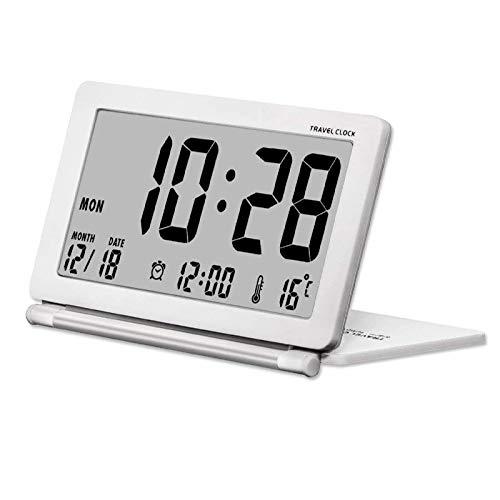 Kleine digitale Wecker Batterie betrieben für Reisen mit Datum, Temperatur, wiederholte Snooze und Lederbezug (ohne Hintergrundbeleuchtung)