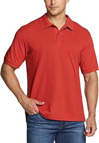 TSLA Men's Cotton Pique Polo Shirts, Classic Fit Short Sleeve Solid Casual Shirts, Performance Stretch Golf Shirt, Cotton Blend Polo Faded Red, X-Small