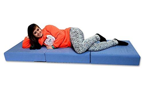 Best For You Visco - Materasso pieghevole di lusso, 15,5 cm, per adulti fino a 95 kg, Viscoelastico, Blu, 195 cm x 75 cm x 15 cm