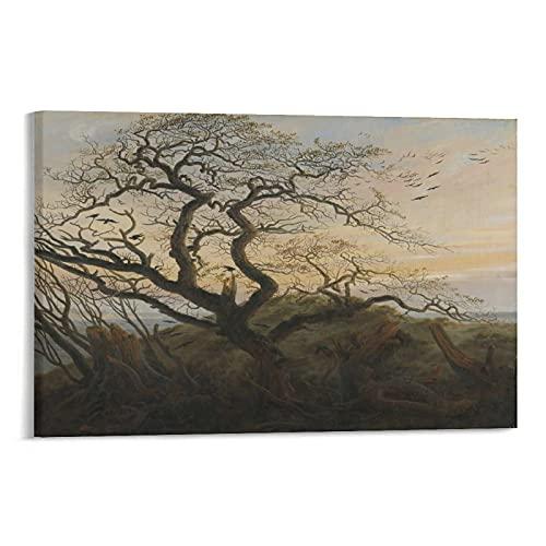 LIUSHUANG Caspar David Friedrich målningar kråkans träd canvas konst affisch och väggkonst bildtryck modern familj sovrum dekor affischer 30 x 45 cm (12 x 18 tum)
