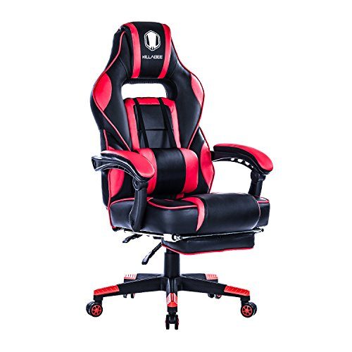 KILLABEE Reclining Memory Foam Racing Gaming Chair - Ergonomic High-Back Racing Computer Desk Office Chair with Retractable Footrest and Adjustable Lumbar Cushion (Red)