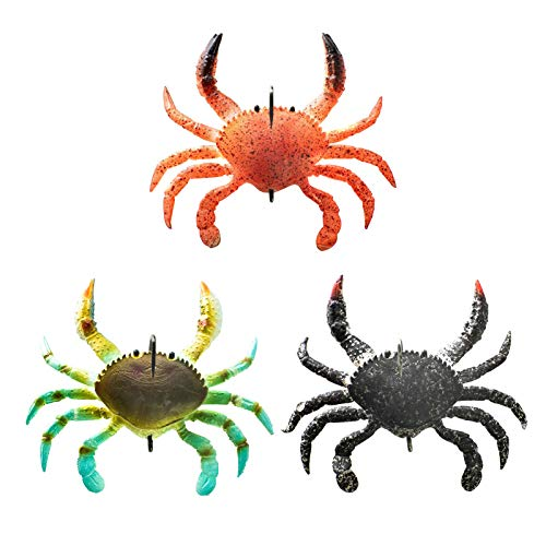 Syfinee Fishing Lure,Crab Lure,Bass Lure - 1/3pcs 3D Soft Simulation Crabs Fishing Bait Smash Crab Fishing Bait for Blackfish Bass Flathead Whiting Snapper Saltwater Lure