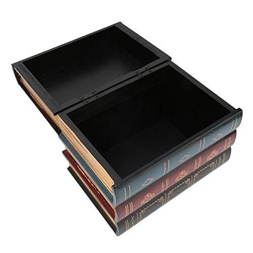 Fydun Caja de Almacenamiento en Forma de Libro, Exquisita Caja de Almacenamiento Vintage para joyería, Pendiente, decoración de estantes de Oficina en casa de Estilo Europeo(L)